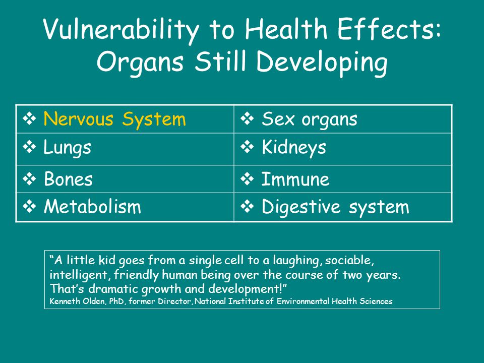 Vulnerability to Health Effects: Organs Still Developing