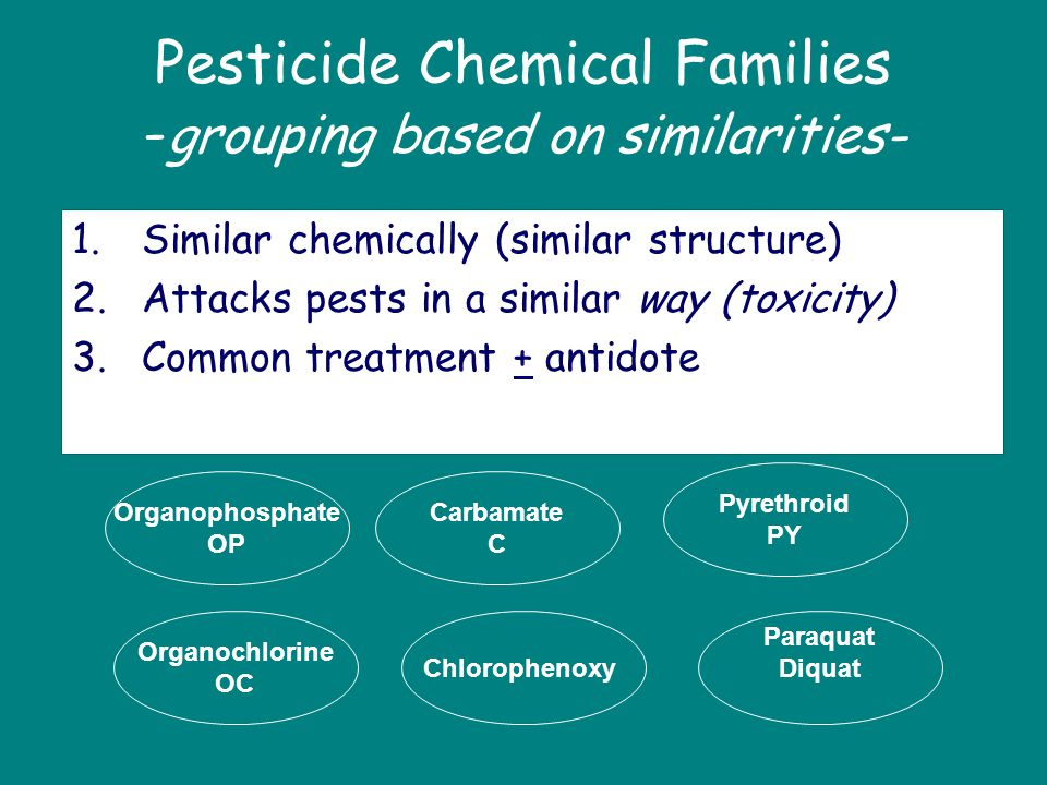 Pesticide Chemical Families -grouping based on similarities-