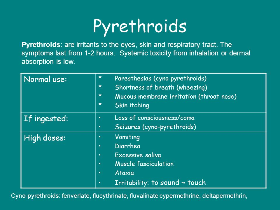 Pyrethroids Normal use: If ingested: High doses: