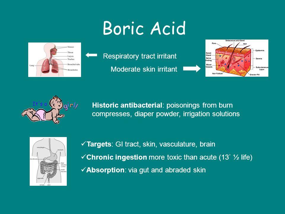 Boric Acid Respiratory tract irritant Moderate skin irritant
