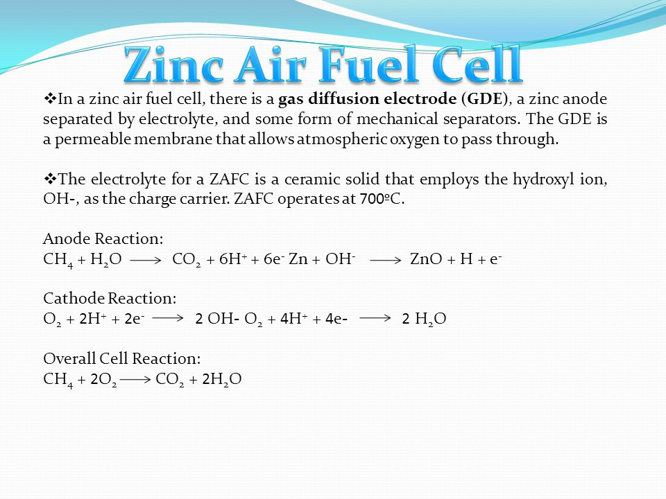 Zinc Air Fuel Cell