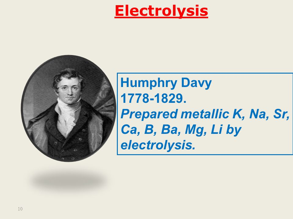 Electrolysis Humphry Davy 1778-1829. Prepared metallic K, Na, Sr,