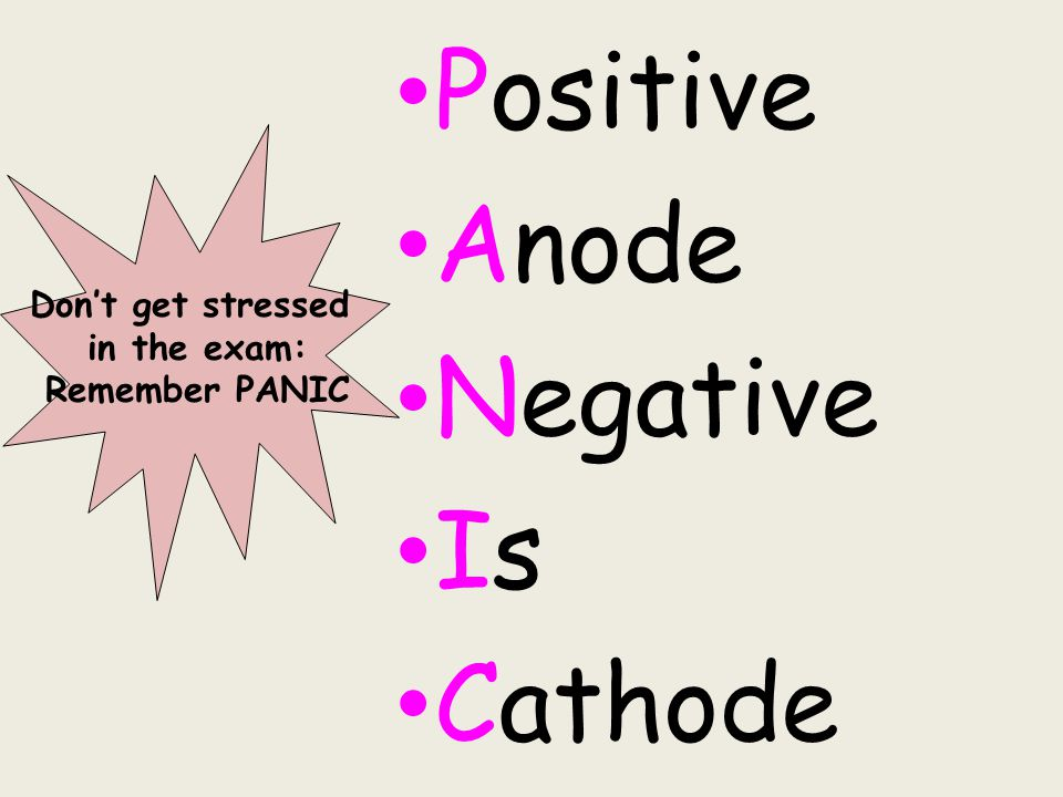 Positive Anode Negative Is Cathode Don't get stressed in the exam:
