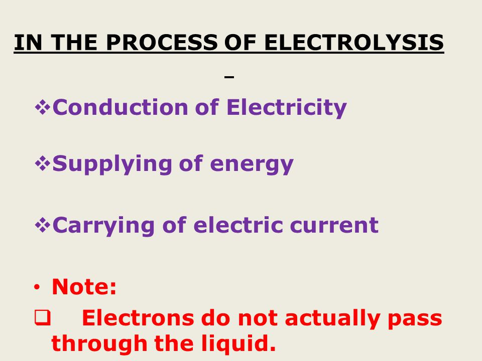 IN THE PROCESS OF ELECTROLYSIS