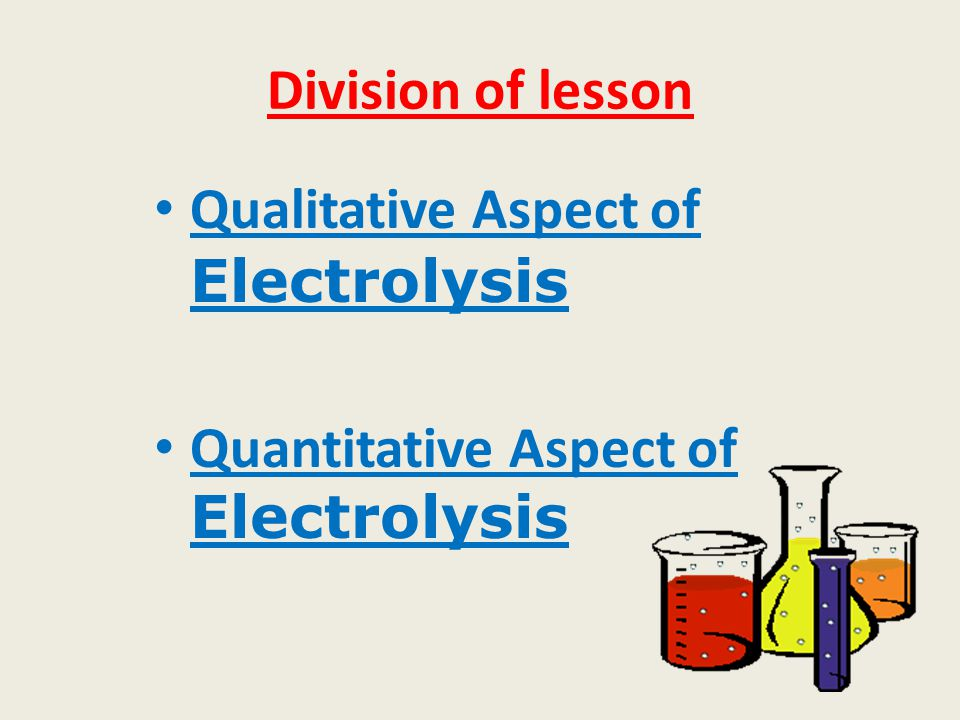 Division of lesson Qualitative Aspect of Electrolysis Quantitative Aspect of Electrolysis