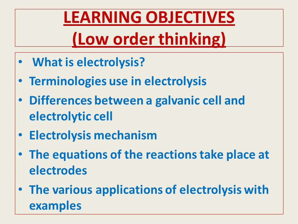 LEARNING OBJECTIVES (Low order thinking)