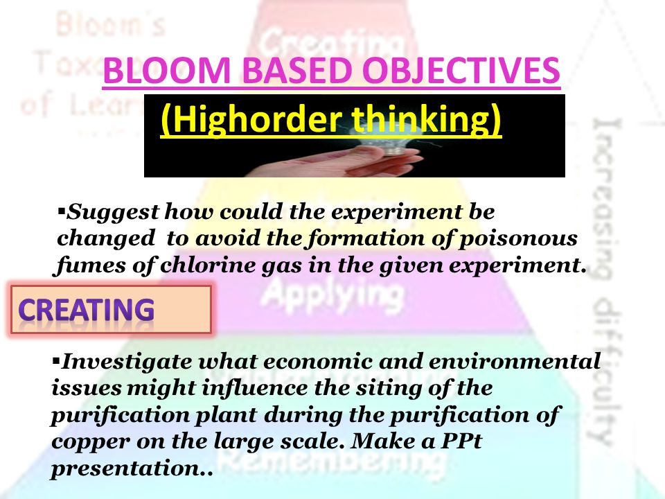 BLOOM BASED OBJECTIVES (Highorder thinking)