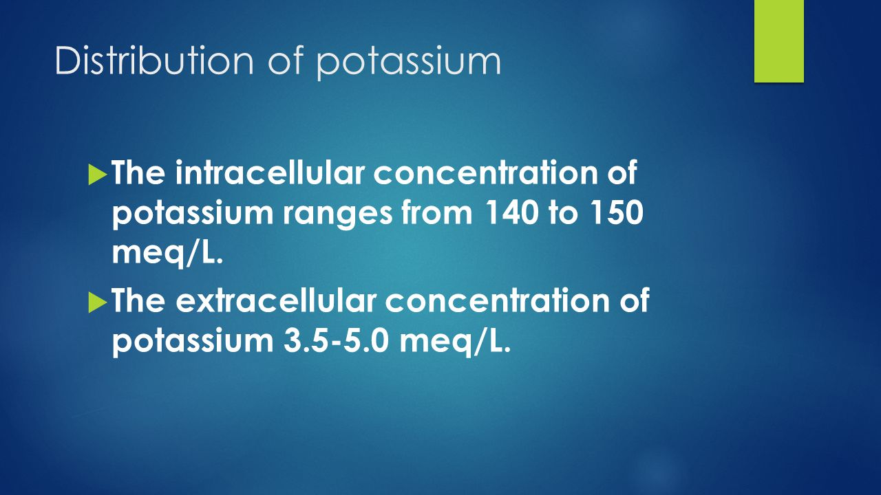 Distribution of potassium