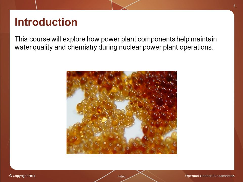 Introduction This course will explore how power plant components help maintain water quality and chemistry during nuclear power plant operations.