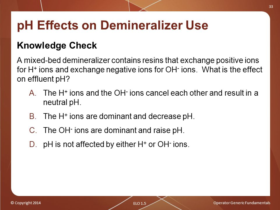 pH Effects on Demineralizer Use