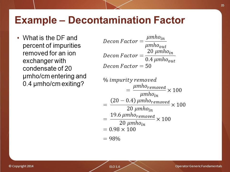 Example – Decontamination Factor