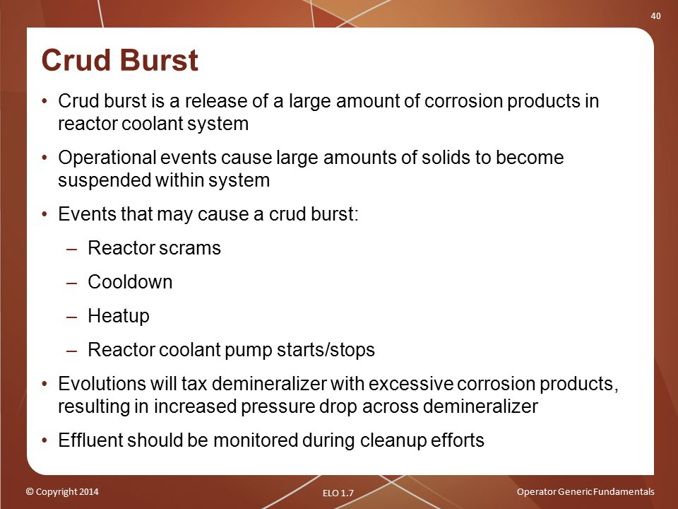 Crud Burst Crud burst is a release of a large amount of corrosion products in reactor coolant system.