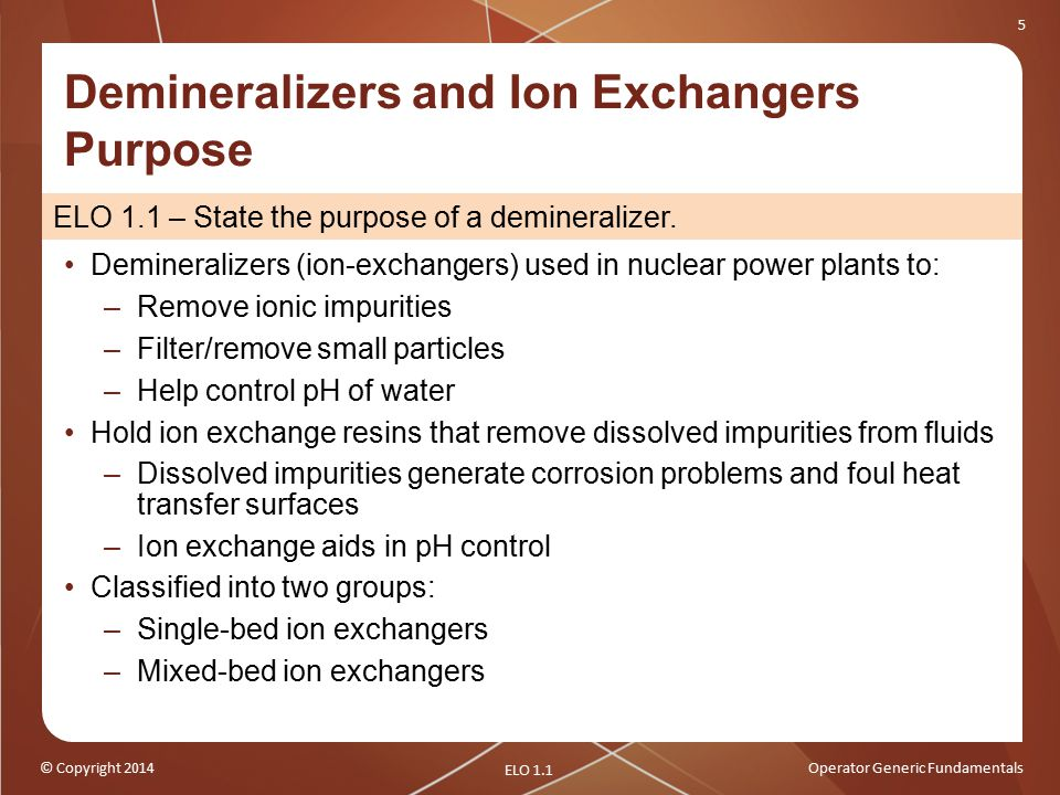 Demineralizers and Ion Exchangers Purpose