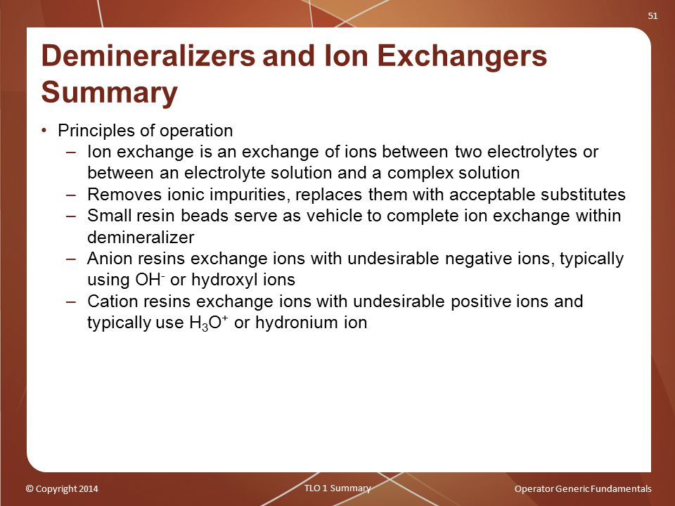 Demineralizers and Ion Exchangers Summary