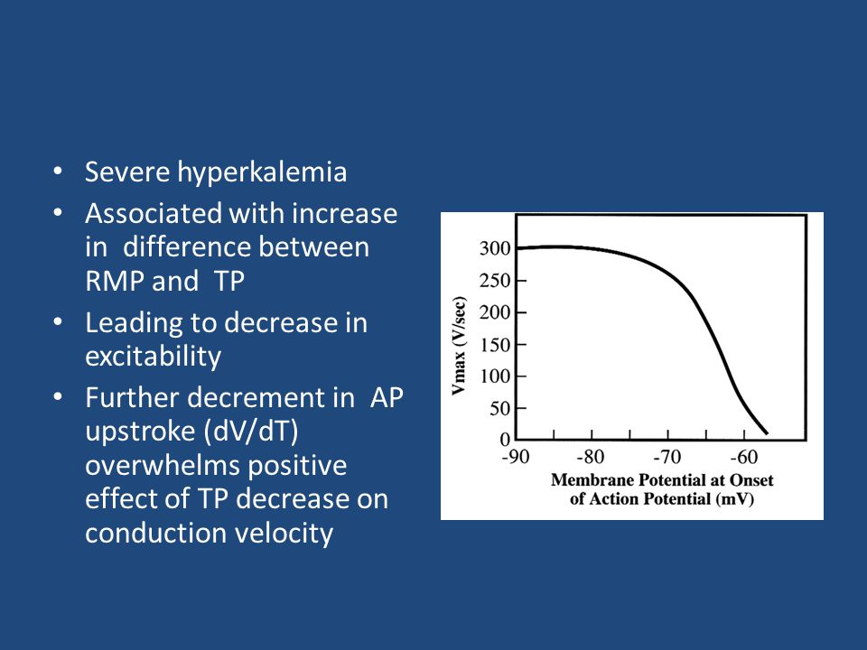 Severe hyperkalemia Associated with increase in difference between RMP and TP. Leading to decrease in excitability.