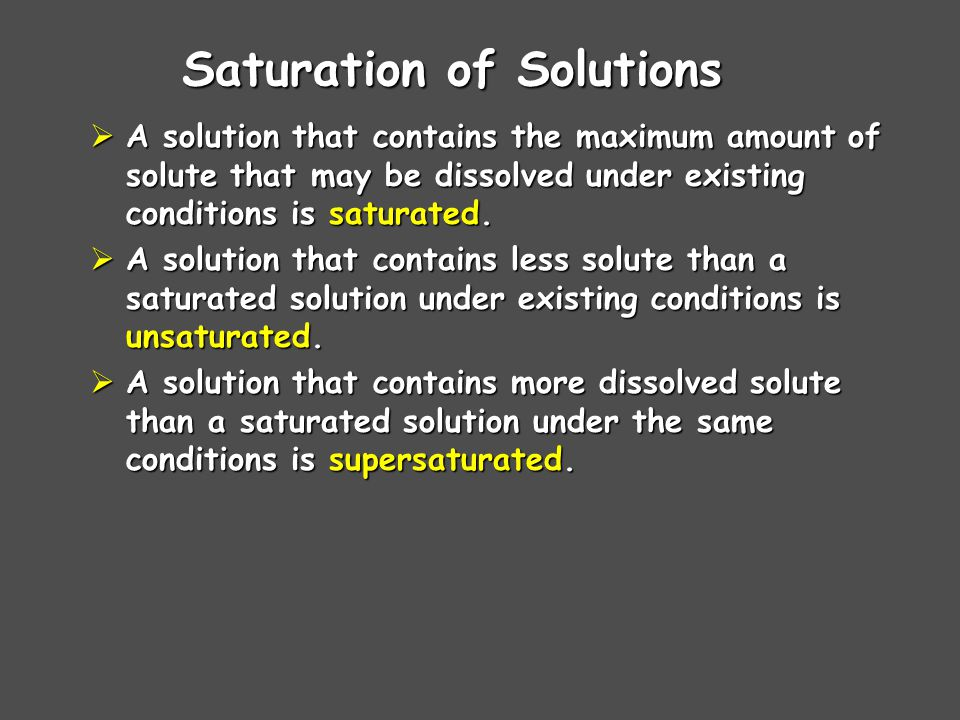 Saturation of Solutions