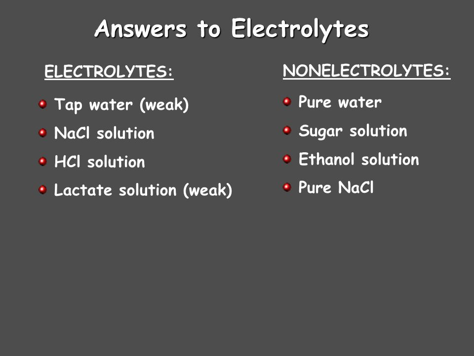 Answers to Electrolytes