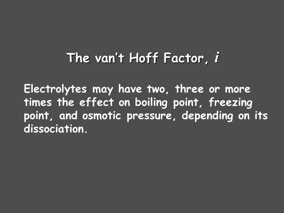 The van't Hoff Factor, i