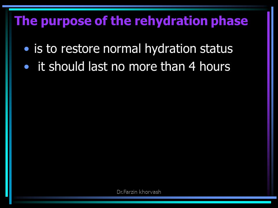 The purpose of the rehydration phase