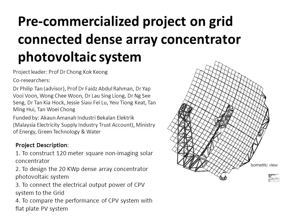 Pre-commercialized project on grid connected dense array concentrator photovoltaic system