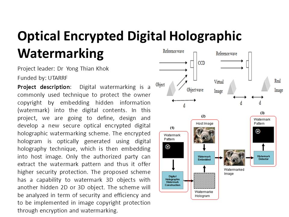 Optical Encrypted Digital Holographic Watermarking