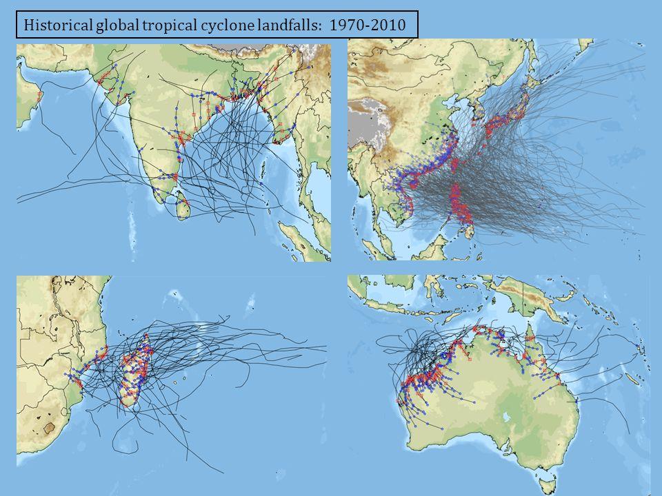 Historical global tropical cyclone landfalls: 1970-2010