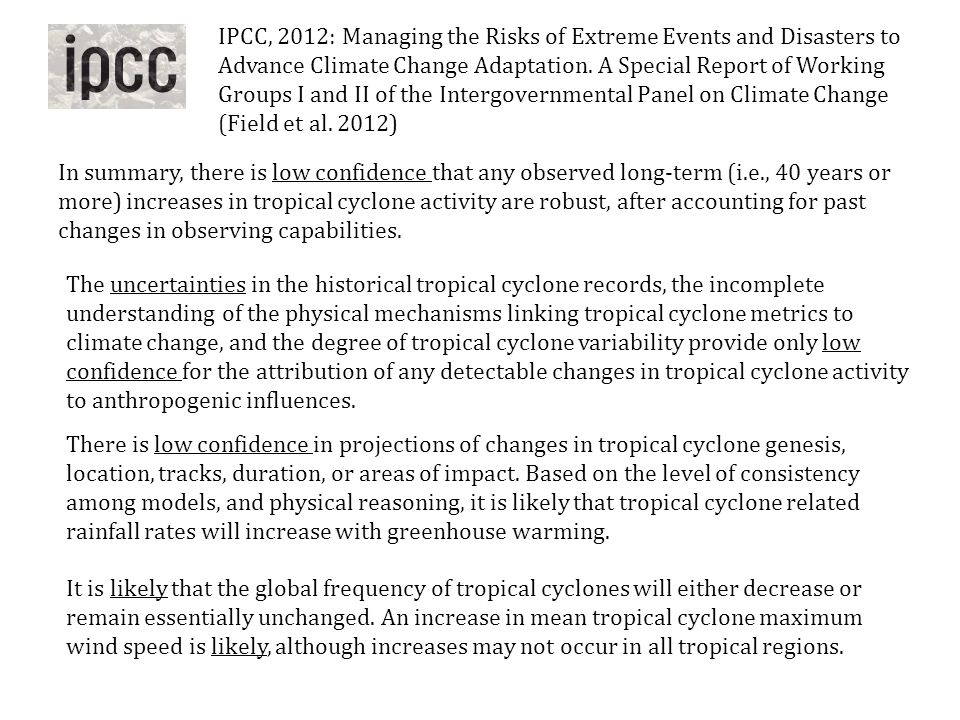 IPCC, 2012: Managing the Risks of Extreme Events and Disasters to Advance Climate Change Adaptation. A Special Report of Working Groups I and II of the Intergovernmental Panel on Climate Change (Field et al. 2012)