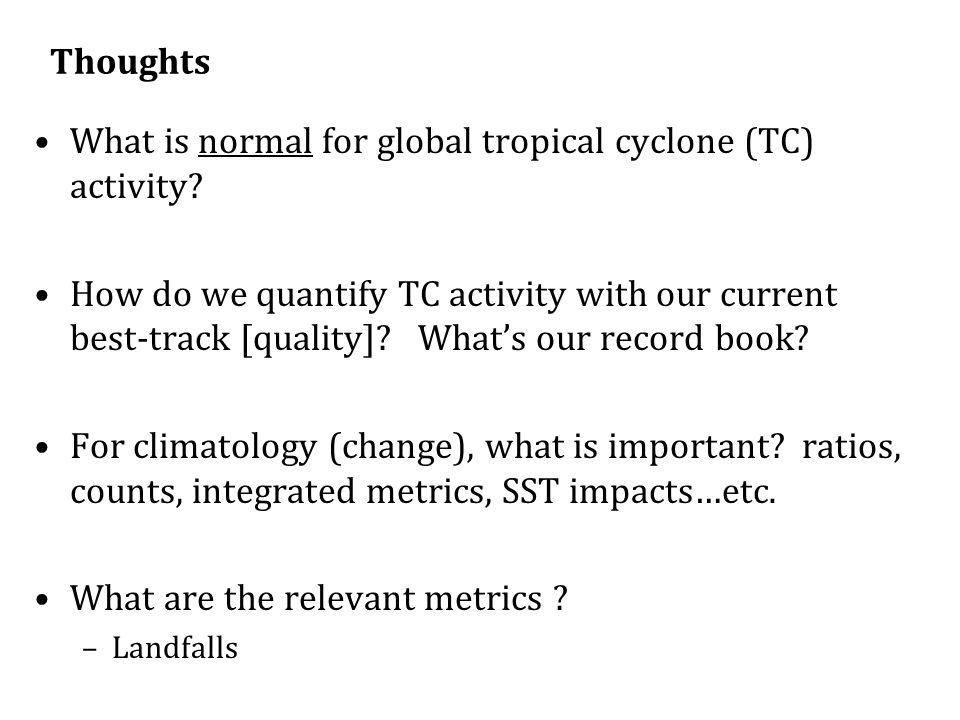 What is normal for global tropical cyclone (TC) activity