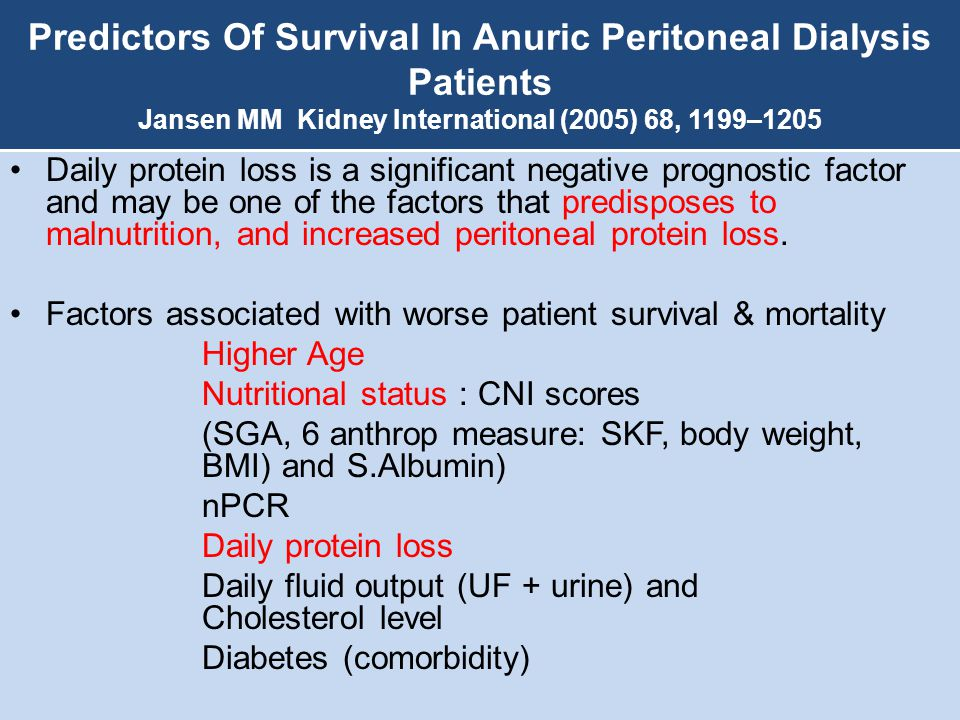Predictors Of Survival In Anuric Peritoneal Dialysis Patients Jansen MM Kidney International (2005) 68, 1199–1205