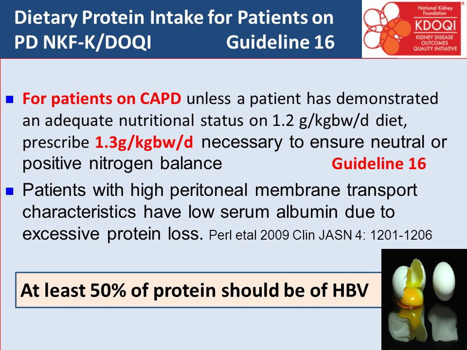 Dietary Protein Intake for Patients on PD NKF-K/DOQI Guideline 16