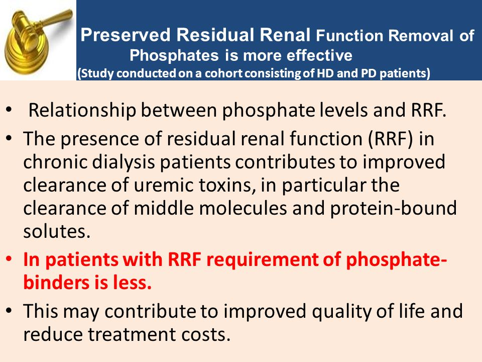 Relationship between phosphate levels and RRF.