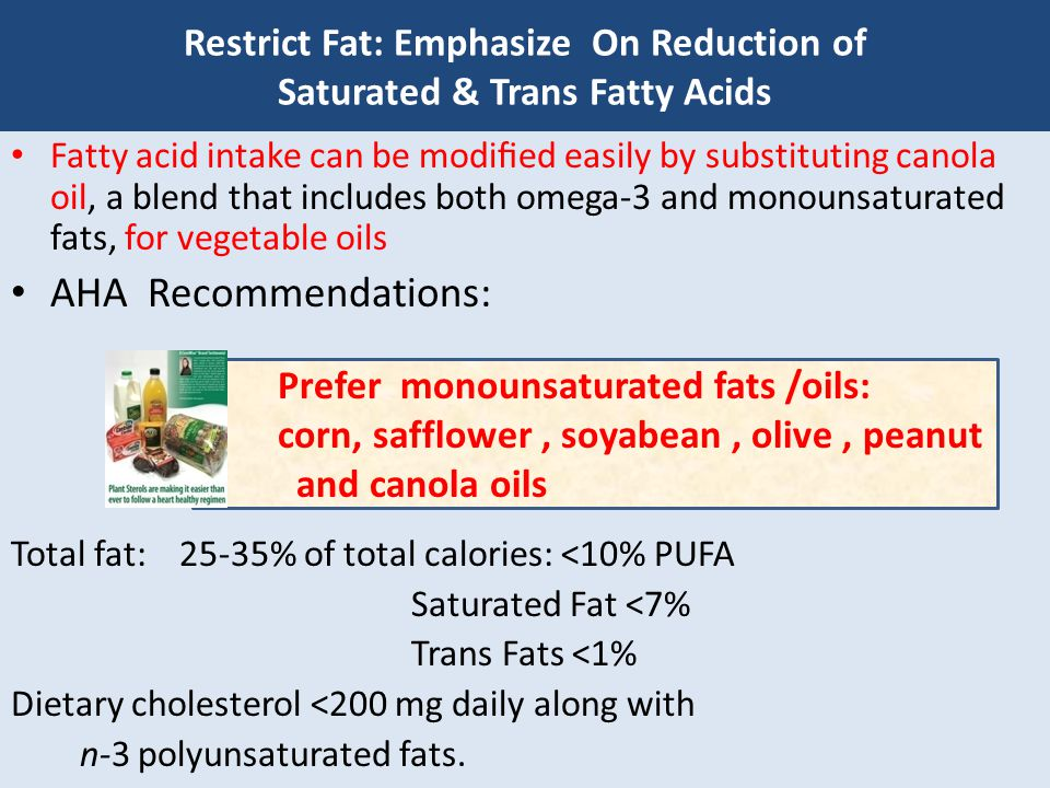 Restrict Fat: Emphasize On Reduction of Saturated & Trans Fatty Acids Management of Dyslipidemia