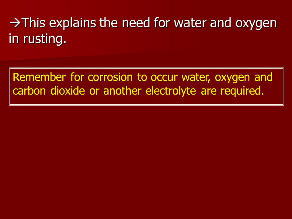 This explains the need for water and oxygen in rusting.