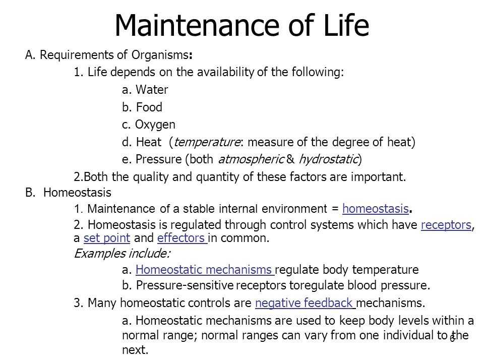 Maintenance of Life