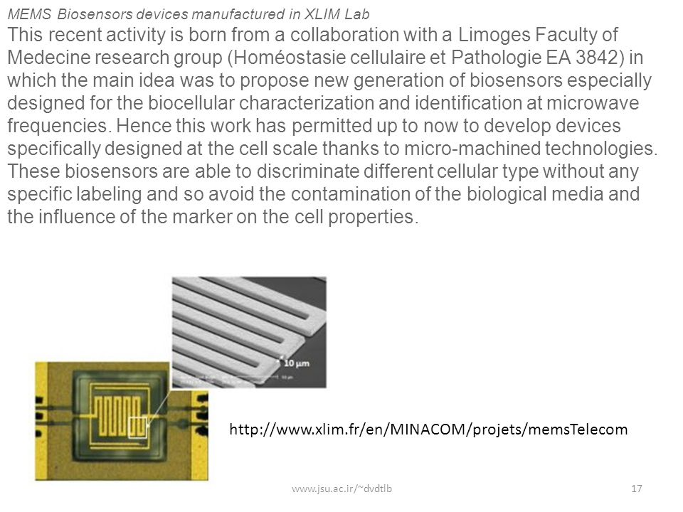 MEMS Biosensors devices manufactured in XLIM Lab