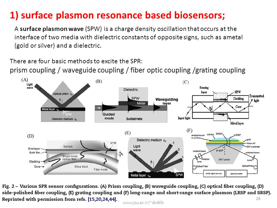 1) surface plasmon resonance based biosensors;