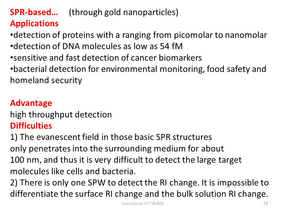 SPR-based… (through gold nanoparticles) Applications