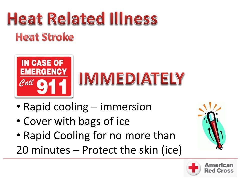 Heat Related Illness IMMEDIATELY Heat Stroke Rapid cooling – immersion