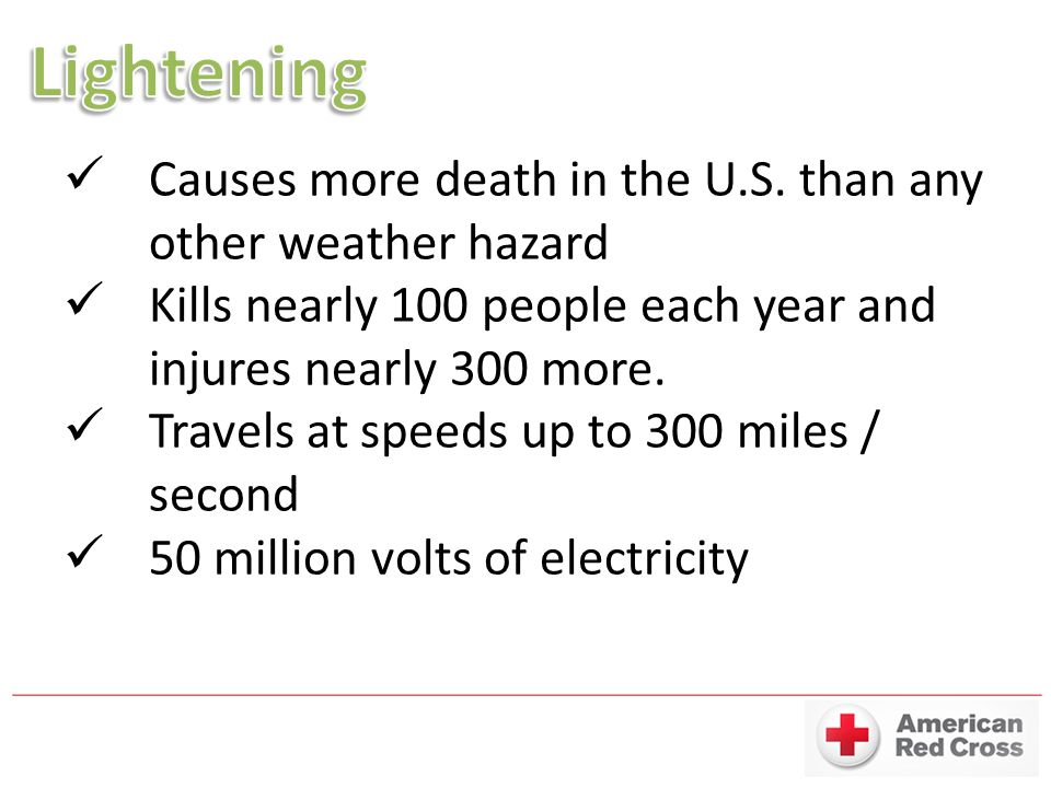 Lightening Causes more death in the U.S. than any other weather hazard