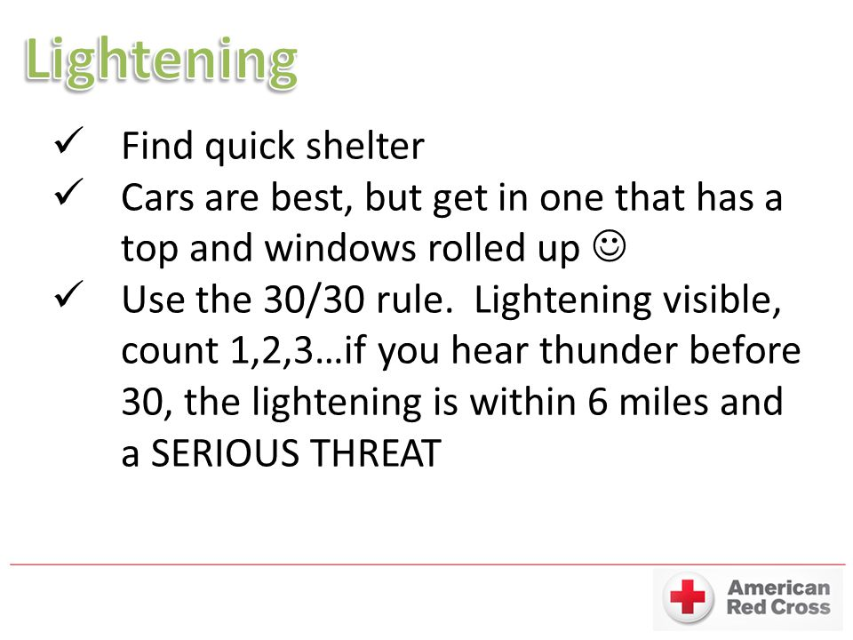 Lightening Find quick shelter