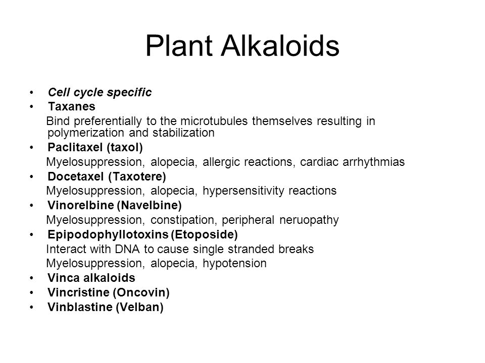 Plant Alkaloids Cell cycle specific Taxanes