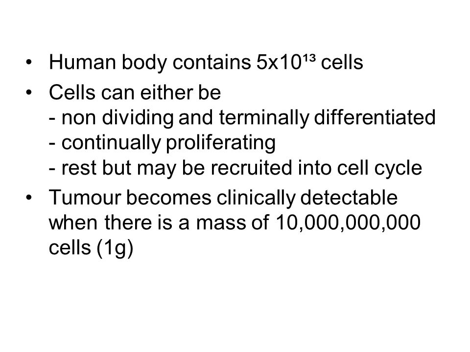 Human body contains 5x10¹³ cells