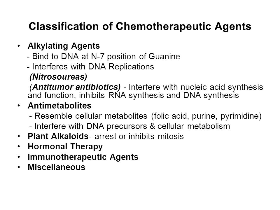 Classification of Chemotherapeutic Agents