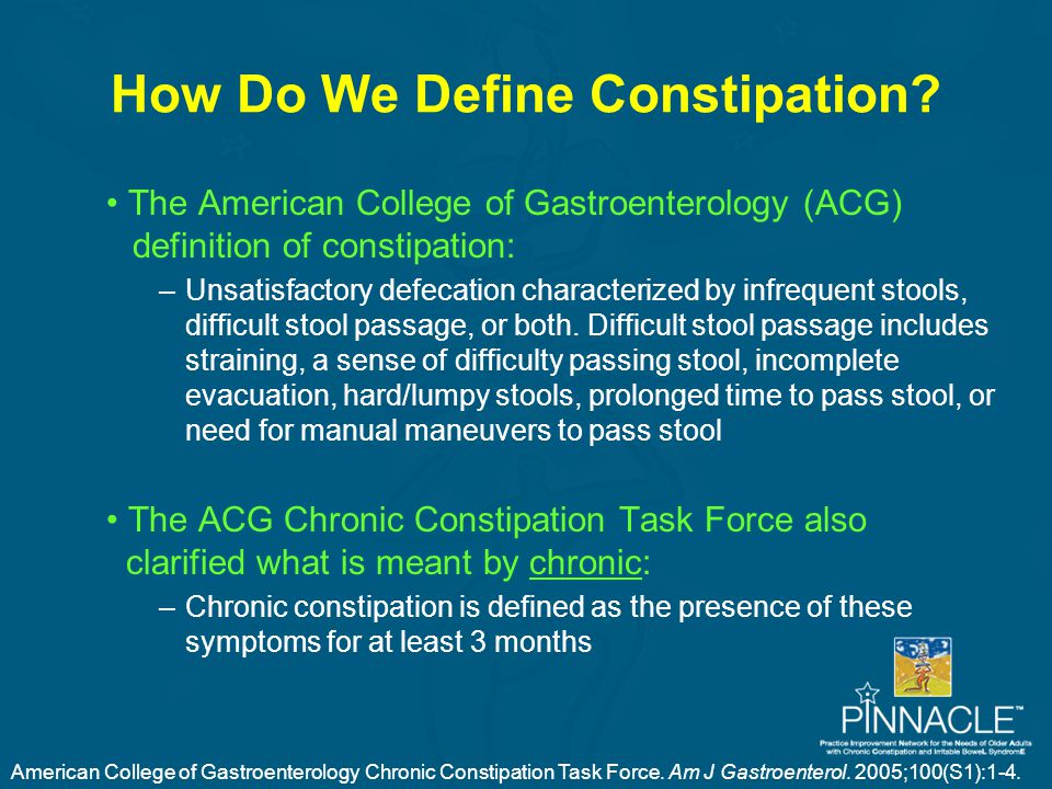 How Do We Define Constipation