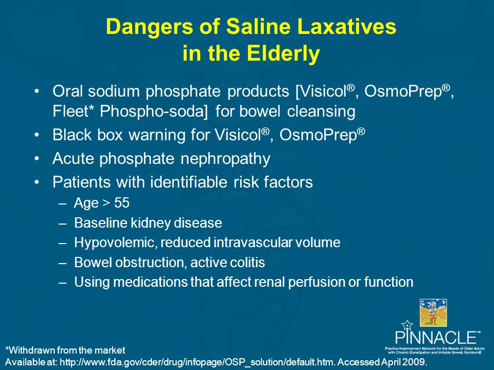 Dangers of Saline Laxatives in the Elderly