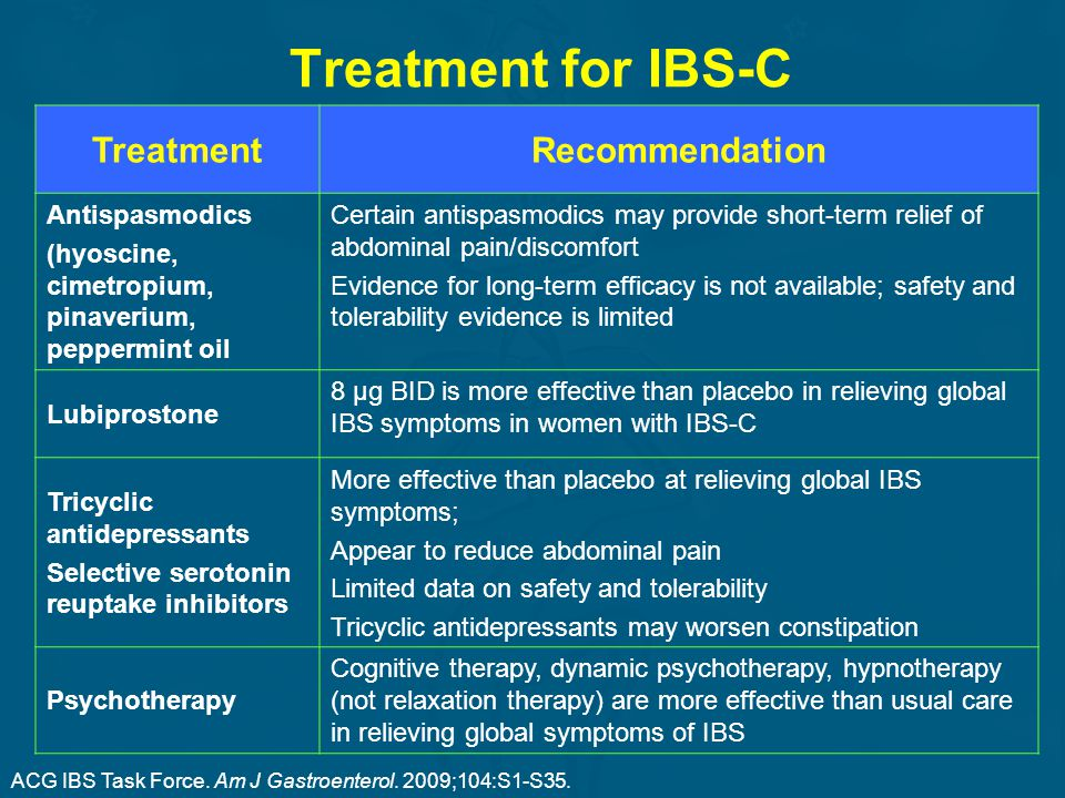 Treatment for IBS-C Treatment Recommendation Antispasmodics