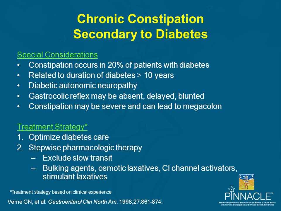 Chronic Constipation Secondary to Diabetes