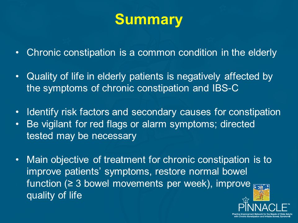 Summary Chronic constipation is a common condition in the elderly