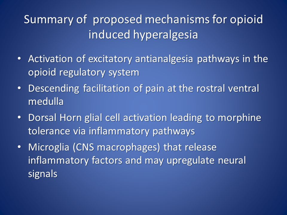Summary of proposed mechanisms for opioid induced hyperalgesia