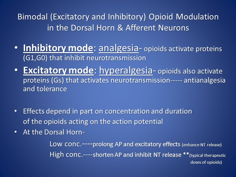 Bimodal (Excitatory and Inhibitory) Opioid Modulation in the Dorsal Horn & Afferent Neurons